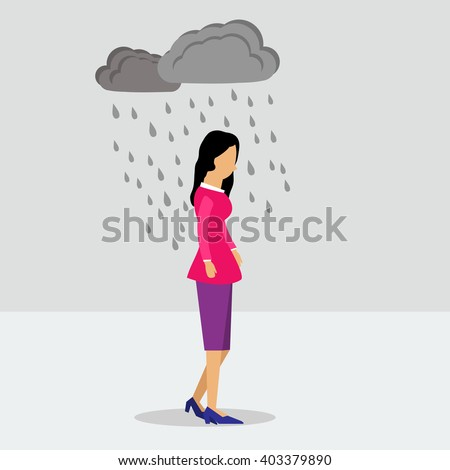 Vector illustration walking business woman in depression in the rain. Flat style.  - stock vector