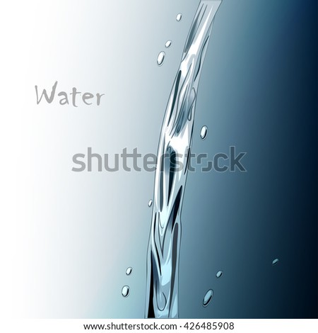 vector illustration water stream on a blue background - stock vector