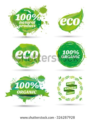 vector illustration watercolor artwork with design elements and graphics bio spots chitye natural colors, natural label design, go green - stock vector