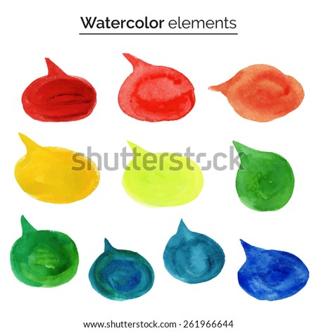 Vector illustration. Watercolor design elements. Colorful isolated aquarelle template for speech. Blank speech bubble dialog circle shape on white background. Empty copy-space for your text or signs. - stock vector