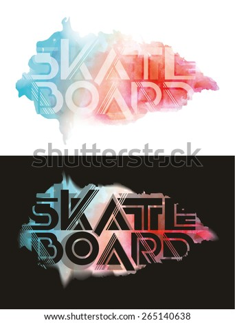 vector illustration watercolor  skateboard freestyle street style legendary rider, graphics design for t-shirts,vintage graphic design - stock vector