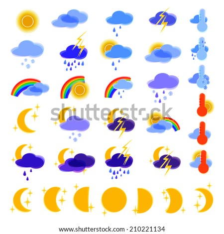 Vector illustration. weather forecast,  icons set - stock vector
