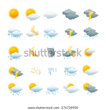 Vector illustration weather icon set isolated on a white background. the concept of weather change - stock vector