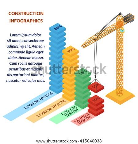 vector illustration. web banner construction infographics . construction crane builds graphic. isometric, 3d - stock vector