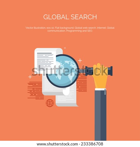 Vector illustration. Web search. Flat computing background. Programming and coding. Web development and search. Search engine optimization. Innovation and technologies. Mobile app. - stock vector