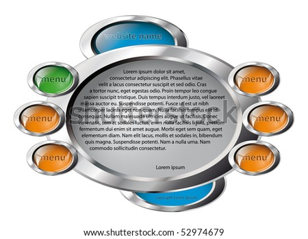 Vector illustration web site template design. Modern web page design with abstract technology skin isolated on white background. - stock vector