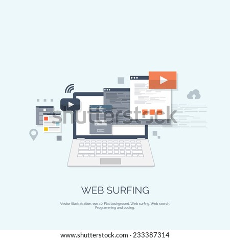 Vector illustration. Web surfing.  Flat computing background. Programming and coding. Web development and search. Search engine optimization. Innovation and technologies. Mobile app. - stock vector