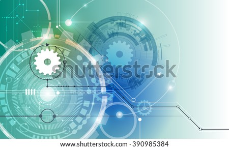 Vector illustration white gear wheel on circuit board, Hi-tech digital technology and engineering, digital telecoms technology concept, Abstract futuristic- technology on blue color background - stock vector