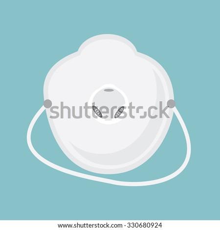 Vector illustration white medical mask, respirator icon. Medical accessories. Medical doctor mask on blue background - stock vector