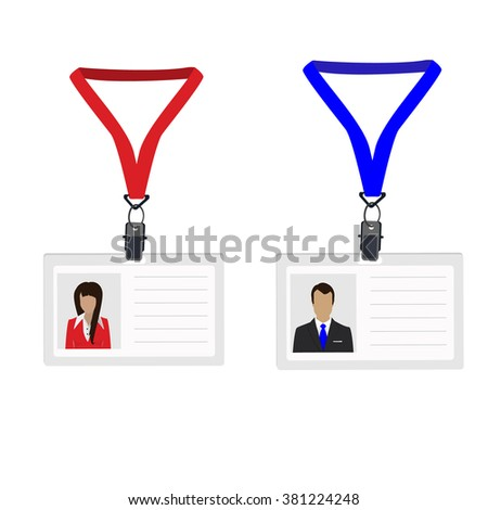 Vector illustration white plastic lanyard with woman and man photo. Name badge. Name tag. Employee badge - stock vector