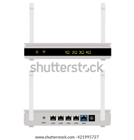 Vector illustration white realistic wireless router with the antenna front and back view. Wi-Fi router detailed
