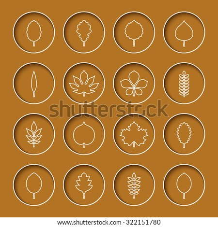 Vector illustration: white silhouettes of different tree leaves (elm, beech, ash, linden,birch, alder, aspen, willow, conker) in concave yellow circles with white stroke isolated on mustard background