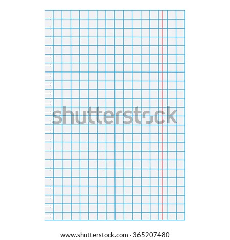 Vector illustration white squared paper sheet. Blank squared paper. Exercise math paper