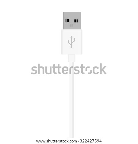 Vector illustration white usb cord, cable, connector symbol - stock vector