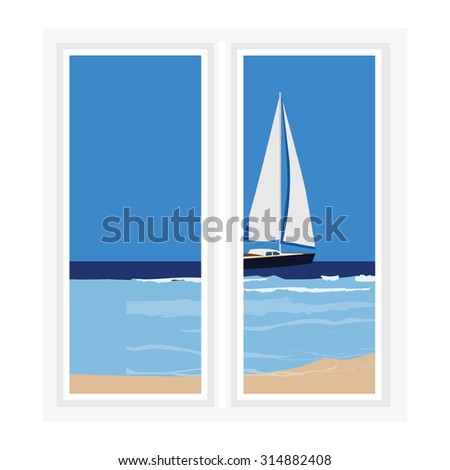 Vector illustration white window with view of beatiful seascape. Luxury yacht in the sea - stock vector
