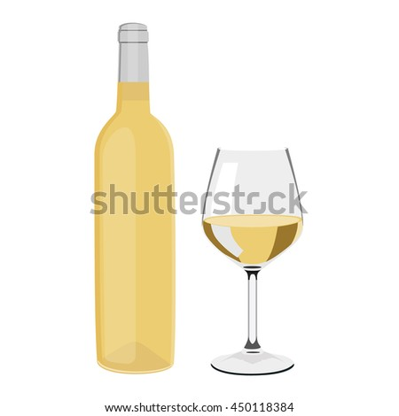 Vector illustration white wine bottle and wine glass with wine isolated on white background. Wineglass - stock vector
