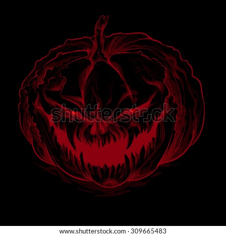 Vector illustration. Wicked red pumpkin on a black background. Halloween.