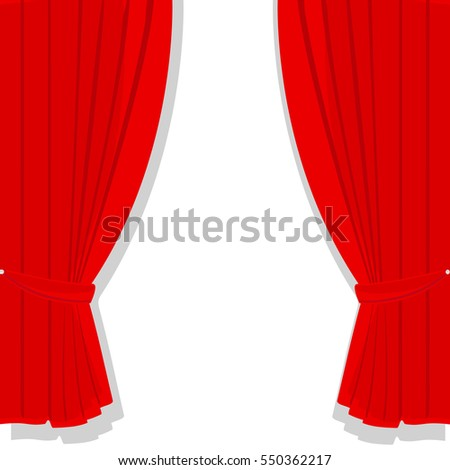 Vector illustration window treatments red curtains for house or home interior. Luxury scarlet red silk velvet curtains