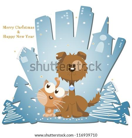 Vector illustration: Winter, Christmas, seasonal greeting card graphic design elements (Part 7) - stock vector