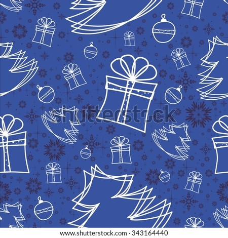 Vector illustration winter snowflakes doodles seamless background pattern - stock vector