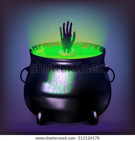 Vector illustration witches cauldron. Potion and magic. Acidic color potions. Zombie Hand. EPS 10 - stock vector