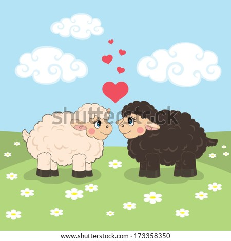Vector illustration with a couple of cute sheep in the meadow with daisies - stock vector