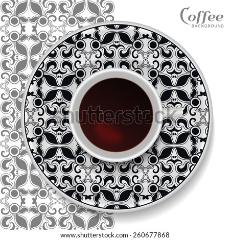 Vector illustration with a Cup of coffee and hand drawn geometric ornament on a saucer. Vector coffee concept, movable isolated elements for you design. Black and white geometric background - stock vector