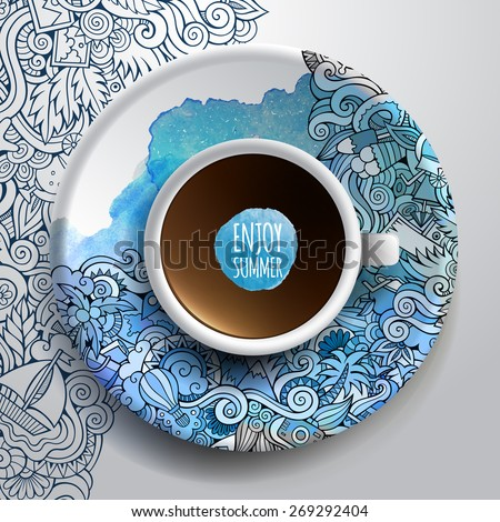 Vector illustration with a Cup of coffee and hand drawn watercolor summer doodles on a saucer and background - stock vector