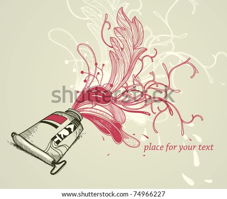vector illustration with a  hand drawn tube of red paint and bright  fantasy plants - stock vector