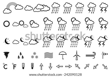 Vector illustration with a set of weather icons
