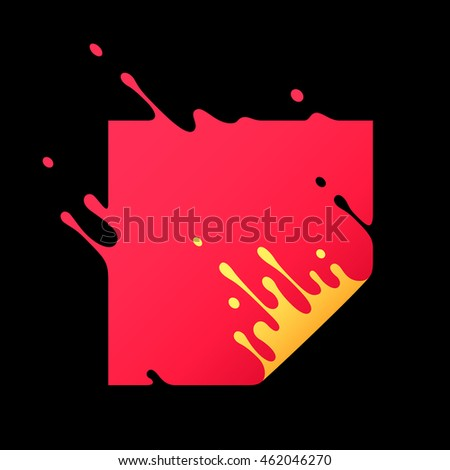 Vector illustration with abstract red square. Abstract splash, liquid shape. Background for poster, cover, banner, placard. Logo design