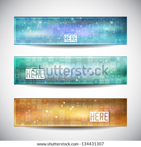 Vector illustration with abstract shining background. Space theme banner for your presentation