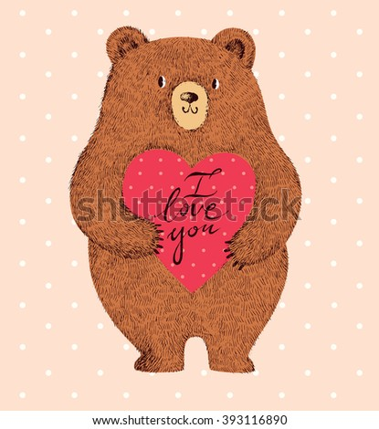 Vector illustration with adorable cute bear and heart. Stylish romantic illustration - stock vector