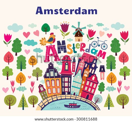 Vector illustration with Amsterdam symbols in cartoon style. Netherlands vector symbols - stock vector