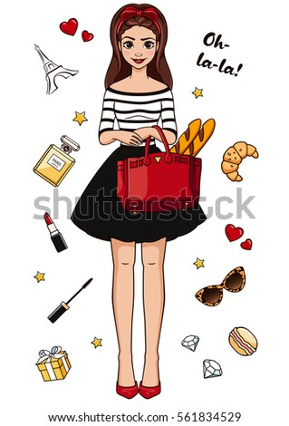 Vector Illustration With An Image Beautiful French Fashion Holiday Card Cartoon Character