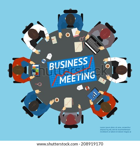 Vector illustration with an overhead view of business people at a round negotiating table with graphs  charts  tablet computers and a laptop - stock vector
