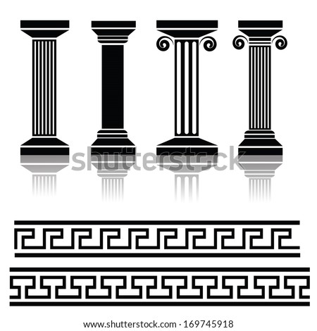 vector illustration with  ancient columns for your design - stock vector