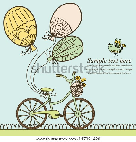 Vector illustration with bicycle, balloons and place for your text. Can be used for celebration, Birthday card. - stock vector