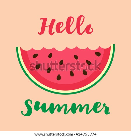 Vector illustration with bitten watermelon slice and lettering hello summer - stock vector