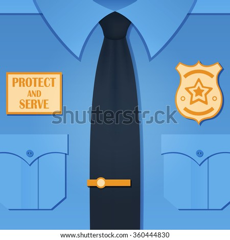 Vector illustration with blue policeman uniform. Police officer background - stock vector