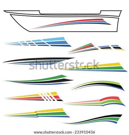 Vector Illustration Boat Graphics On White Stock Vector - Boat graphic design decals