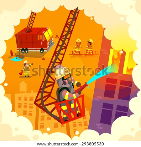 Vector illustration with brave firefighting team at work, extinguishing fire and saving lives - stock vector