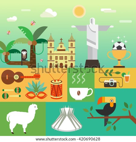 Vector illustration with Brazil symbols  made in modern flat style. Banner Travel to Brazil concept. Flat icons arranged in square. - stock vector