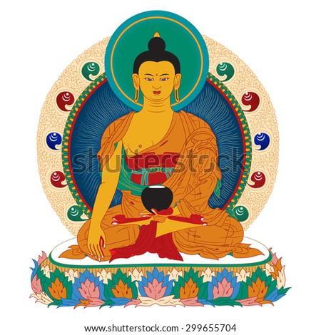 Vector illustration with Buddha in meditation.  - stock vector
