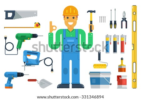Vector illustration with builder and tools: drill,hacksaw, hammer,paint, glue, sealant, etc. Flat style. Elements for infographic. - stock vector
