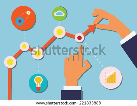 Vector Illustration with Business Schedule, Icons and Human Hands. - stock vector