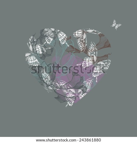 Vector illustration with butterflies and flowers in the heart, hand-drawing. - stock vector
