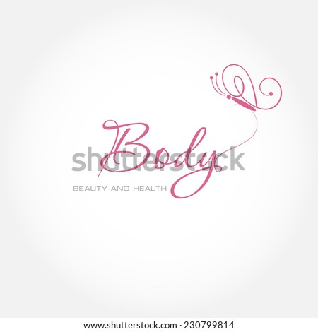 Vector illustration with Butterfly symbol. Logo design.  For beauty salon, spa center, health clinic - stock vector