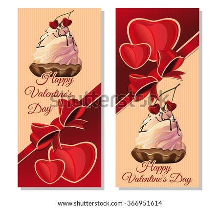 Vector illustration with cake and heart-shaped cherries for Valentines Day. Set banners with congratulatory inscription. Happy Valentine's Day. Vintage greeting cards for Valentine's Day. - stock vector