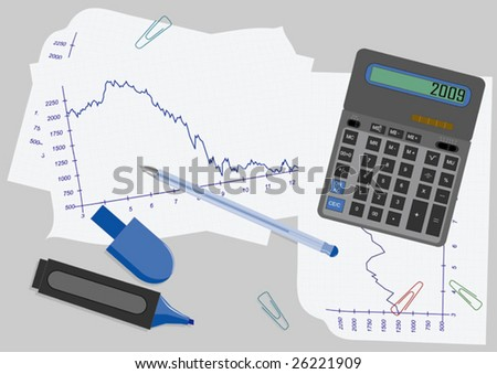 vector illustration with calculator - stock vector